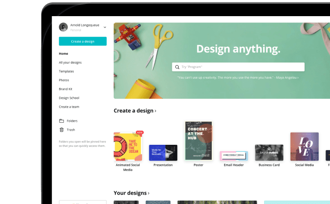 Canva interface to use to save time on social media