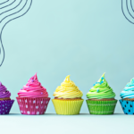 Colourful cupcakes on a blue background